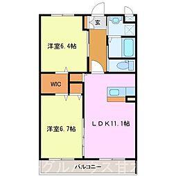 甘木鉄道 山隈駅 徒歩6分の賃貸マンション 2階2LDKの間取り