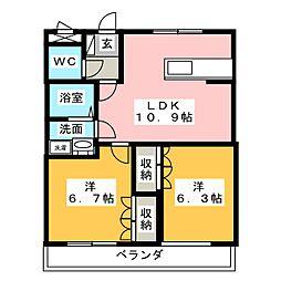 サニーハウス南A[2階]の間取り
