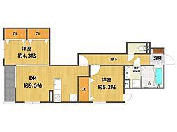 (仮称)南武庫之荘4丁目D-room[202号室]の間取り