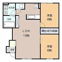 神奈川県海老名市今里1丁目の賃貸アパートの間取り