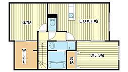 兵庫県姫路市花田町勅旨の賃貸アパートの間取り