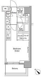 東京メトロ有楽町線 月島駅 徒歩1分の賃貸マンション 6階ワンルームの間取り