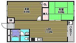 泉ヶ丘第三コーポラス[6階]の間取り