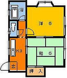 ハイツミヤマ[102号室]の間取り