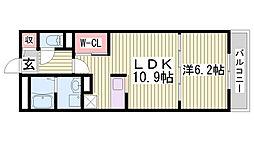 JR東海道・山陽本線 三ノ宮駅 徒歩11分の賃貸マンション 1階1LDKの間取り
