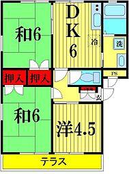 埼玉県越谷市千間台西5丁目の賃貸アパートの間取り