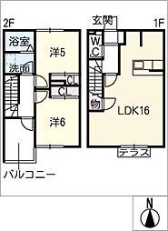 [タウンハウス] 愛知県稲沢市平和町西光坊新町 の賃貸【/】の間取り