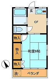 東京都調布市国領町6の賃貸アパートの間取り