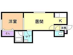 VILLA・POPOROIII 1階1LDKの間取り