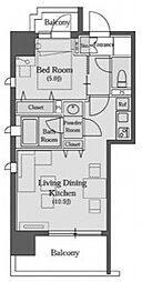 南麻布パークハイツ[11階]の間取り