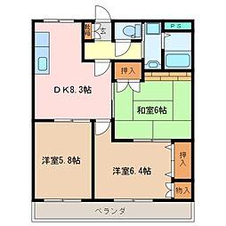 三重県松阪市嬉野中川新町4丁目の賃貸アパートの間取り