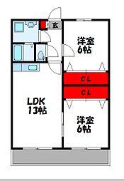 サンライズ須恵[3階]の間取り
