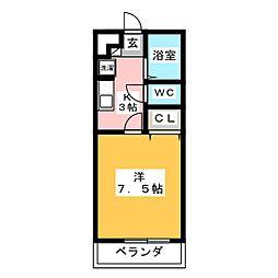 愛知県岡崎市稲熊町字3丁目の賃貸アパートの間取り