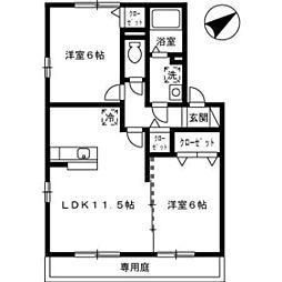 ハーミテージ A棟[1階]の間取り