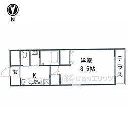 京都市営烏丸線 今出川駅 徒歩8分の賃貸マンション 1階1Kの間取り