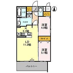 (仮)D-room旭ケ丘町 5階2LDKの間取り