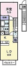 千葉県茂原市町保の賃貸アパートの間取り
