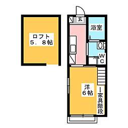 マ・ピエス三田 2階1Kの間取り