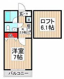 埼玉県志木市本町の賃貸アパートの間取り
