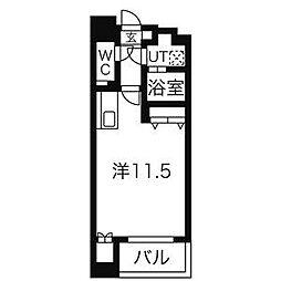 名鉄名古屋本線 名鉄名古屋駅 徒歩10分の賃貸マンション 4階ワンルームの間取り
