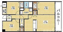 阪急京都本線 上新庄駅 徒歩8分の賃貸マンション 2階3LDKの間取り