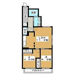 ブランノワール W18.exe[3階]の間取り
