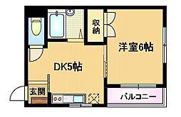 大阪府大阪市都島区高倉町2丁目の賃貸アパートの間取り