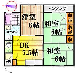 広島県広島市中区江波本町の賃貸アパートの間取り