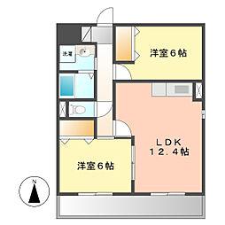 愛知県名古屋市西区西原町の賃貸アパートの間取り
