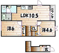 イ−ストヒルズⅡ[2階]の間取り
