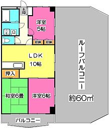 埼玉県所沢市小手指町5丁目の賃貸マンションの間取り