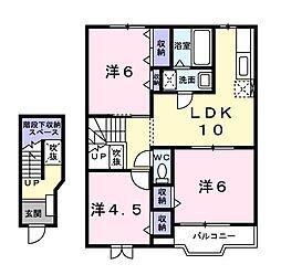 ドミールA[0202号室]の間取り