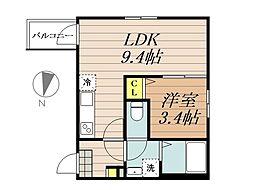 JR埼京線 与野本町駅 徒歩12分の賃貸アパート 3階1LDKの間取り