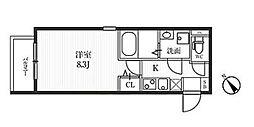 東京メトロ東西線 早稲田駅 徒歩8分の賃貸マンション 1階1Kの間取り