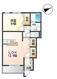茨城県つくばみらい市豊体の賃貸アパートの間取り