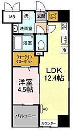 Trio Mare 蔵前 7階1LDKの間取り