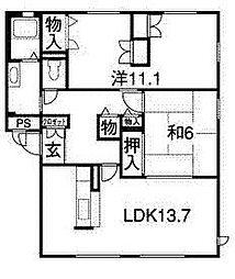 長野駅東口徒歩12分・グランバリエ七瀬 N[302号室]の間取り