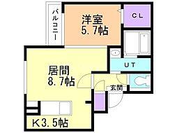 JR函館本線 手稲駅 徒歩8分の賃貸マンション 2階1LDKの間取り