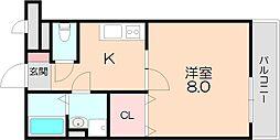 ミーツハウス池田 2階1Kの間取り