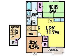 愛媛県松山市畑寺1丁目の賃貸アパートの間取り