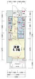 プレサンスOSAKA DOMECITYスクエア 5階1Kの間取り