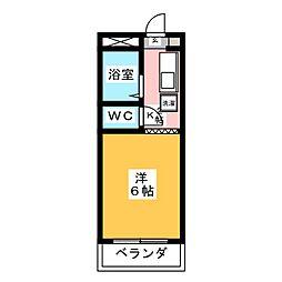 コーポ大桜II 2階1Kの間取り
