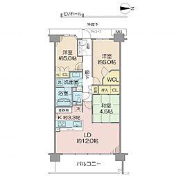 オーベル横浜白幡 5階3LDKの間取り