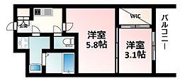 Osaka Metro御堂筋線 江坂駅 徒歩7分の賃貸マンション 8階2Kの間取り