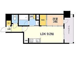 ラクレイス平尾山荘通り 5階1LDKの間取り