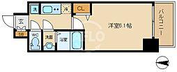 ララプレイス大阪新町ヴェレ 12階1Kの間取り