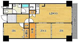 大阪府茨木市平田1丁目の賃貸マンションの間取り