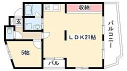 愛知県名古屋市昭和区川名山町の賃貸マンションの間取り