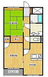 コーポ櫻井[203号室]の間取り
