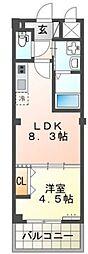 西鉄貝塚線 唐の原駅 徒歩7分の賃貸アパート 1階1LDKの間取り